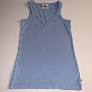 "Lacoste Powder Blue ""V"" Neck Tank Top Small"